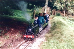 Bob Symes & 2165 on passenger train duties at Greendene Works Railway, 2001
