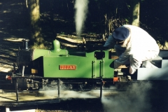 Bob Symes & Titan on Bramble Hill Turntable at it's first Ingfield Fete Day visit, June 2000