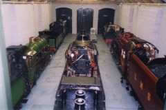 Inside the engine shed at Infield