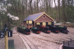 Locomotives outside the Bramble Hill engine shed