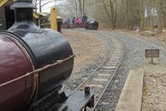 Passenger train approaching Bramble Hill station
