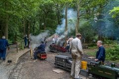 Steaming up engines and preparations at Bramble Hill