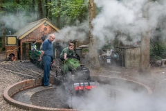 Locomotives in steam at the Bramble Hill turntable