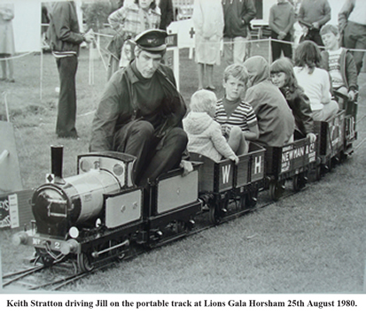 Keith Stratton driving Jill on the portable track at Lions Gala, Horsham, 25th August 1980.