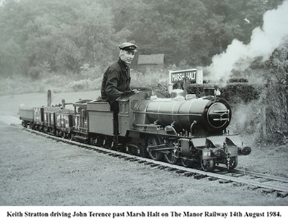 Keith Stratton driving John Terence past Marsh Halt, on The Manor Railway, 14th August 1984.